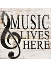 """Music Lives Here"" White Reclaimed Wood Wall Art"